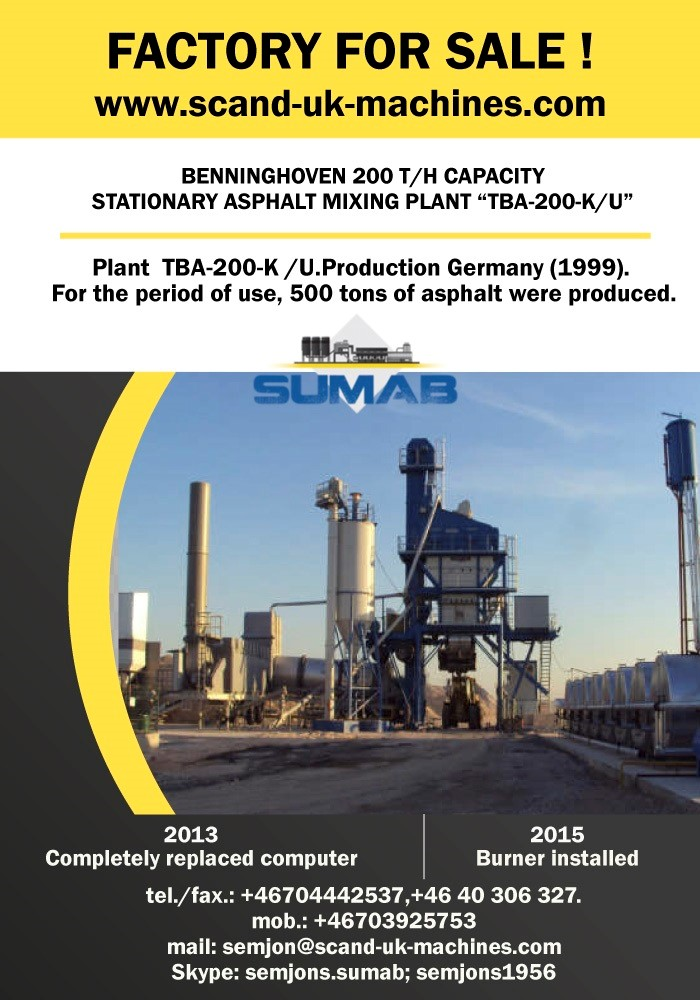 SUMAB - USED STATIONARY ASPHALT MIXING PLANT ,,TBA-200-K/U,,