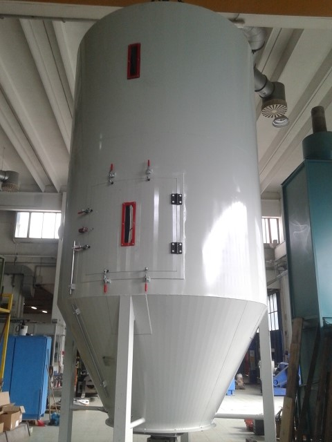 GERMANPLAST - scrap silo ribbon mixer