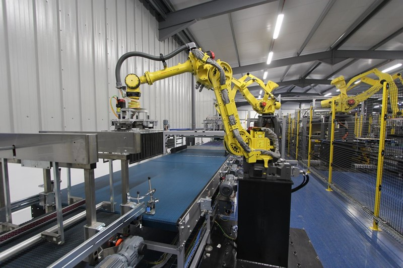 2017 - Palletizing System with Fanuc Robots - Electric 80, 70 pallets/h